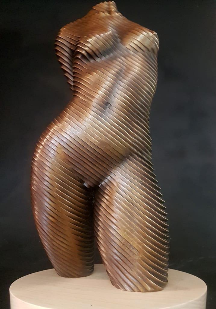 a female torso in bronze