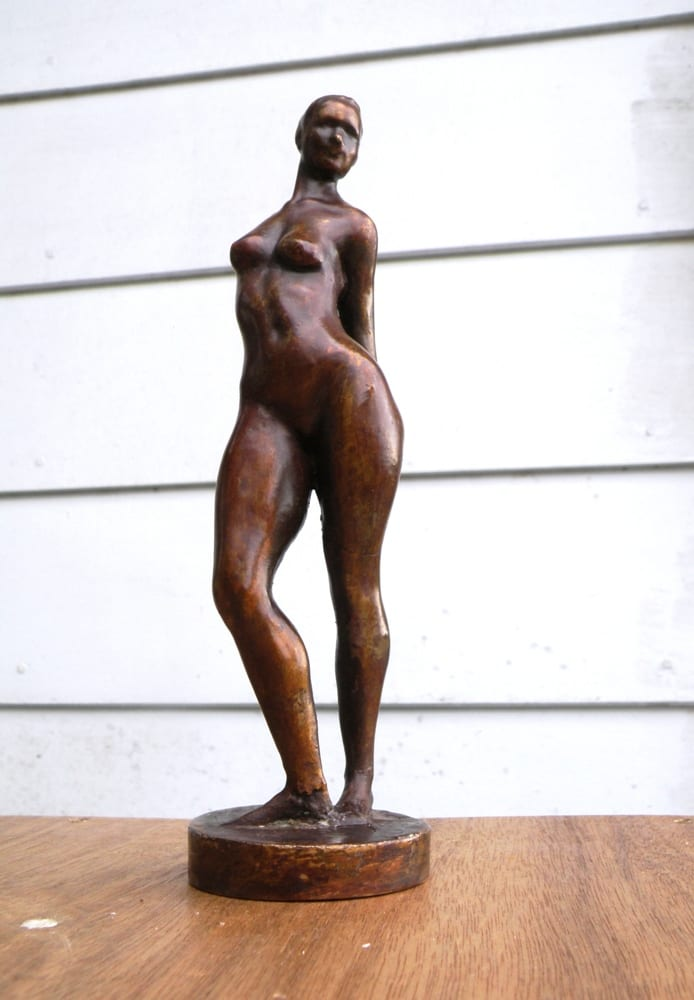 bronze figurine of a standing nude woman