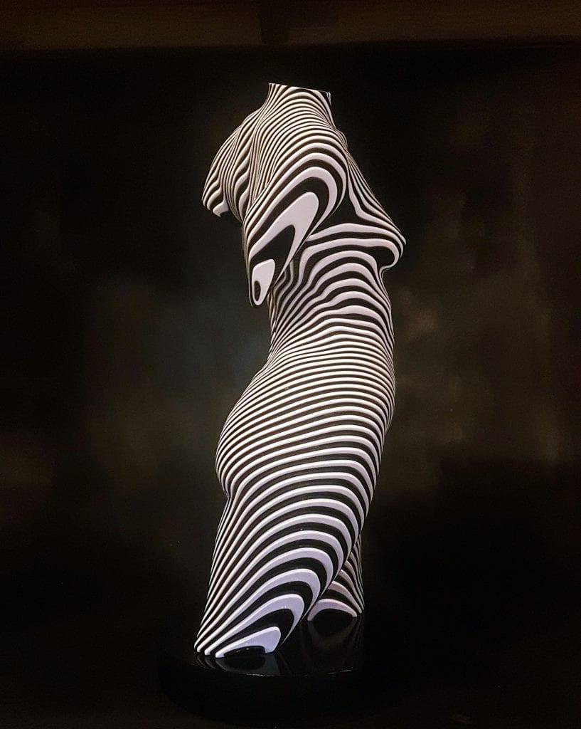 Female torso in black and white stripes
